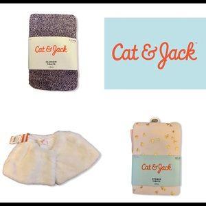 Cat&Jack 3 Lot Fur Coat Opaque Gold Tights 12-24m